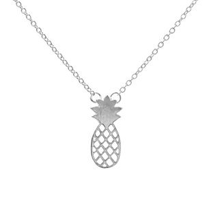 🎉 Pineapple Silver Plated Pendant Necklace